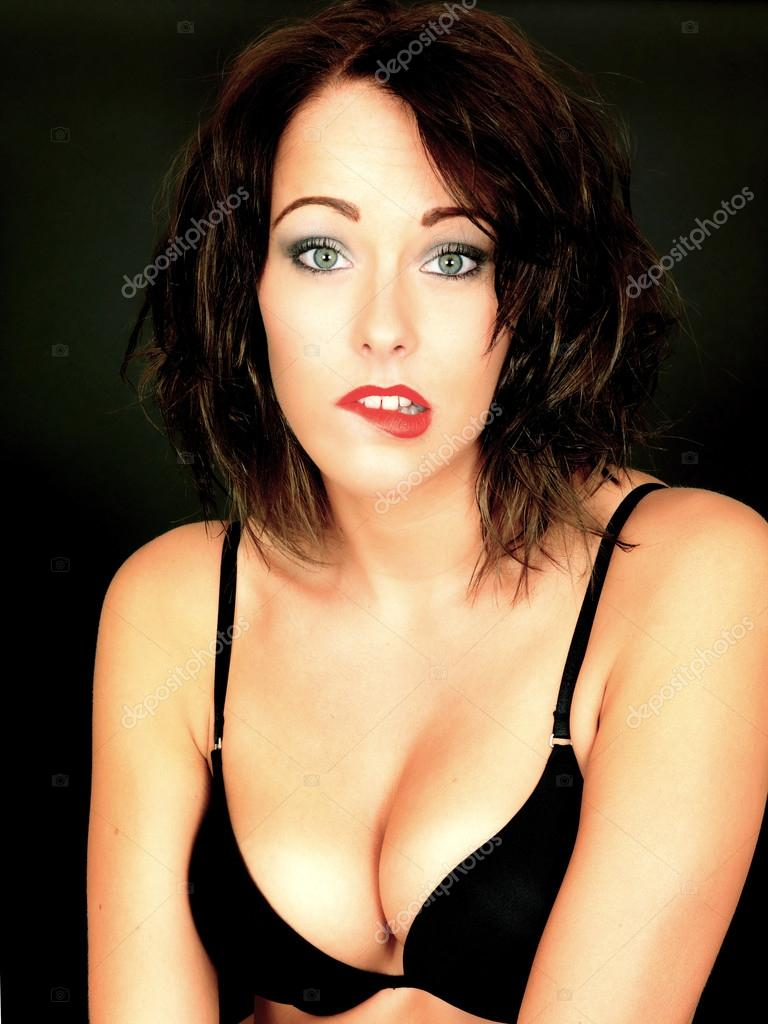 8621c0f250f84 Sexy Young Woman Wearing Black Bra — Stock Photo © richardmlee  50959065