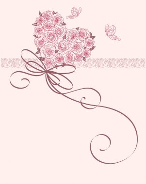Cute card with heart of roses