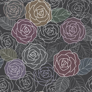 Abstract black background with roses