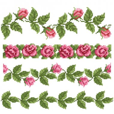 Floral decorativ element, embroidery