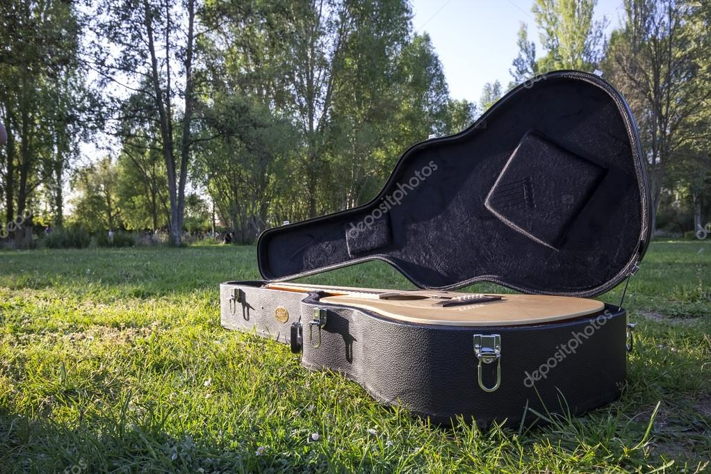 Acoustic guitar on the grass at sunset