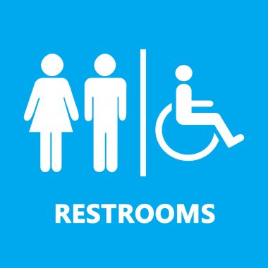 Man, Woman and invalid one, restroom or toilette symbol