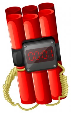 Illustration of a bomb with a timer on a white background stock vector