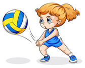Photo A Caucasian girl playing volleyball