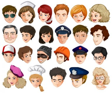 Heads of a lot of people with different professions