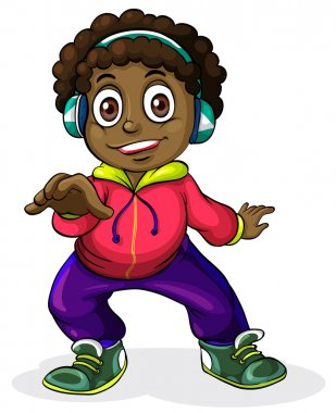 A young Black man listening to the music
