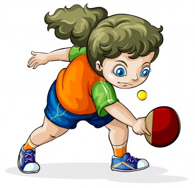 A Caucasian girl playing table tennis