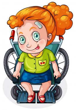 A Caucasian lady riding on a wheelchair