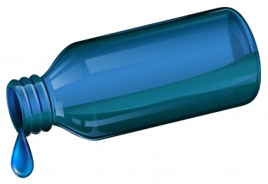 A blue medical bottle