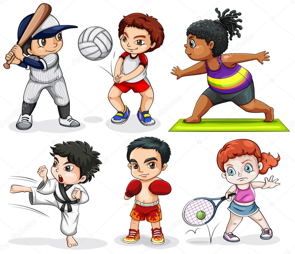 Illustration of the kids engaging in different activities on a white background stock vector