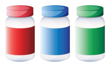 Colorful medical bottles