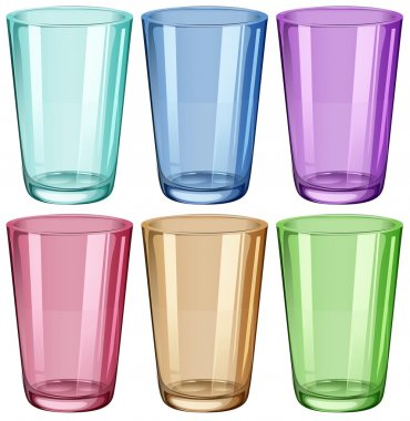 Clear drinking glasses