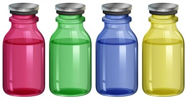 Four clear bottles