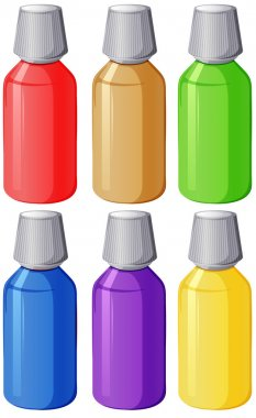 Colourful medical bottles