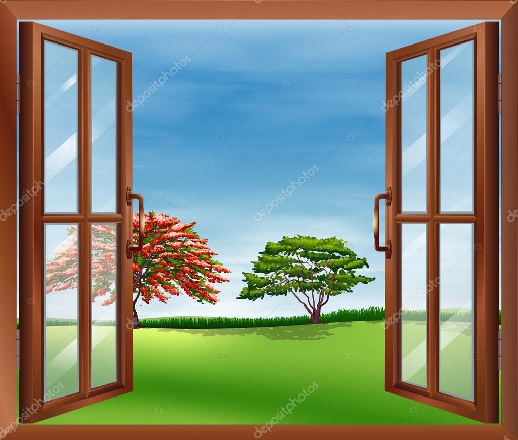 Una finestra aperta in legno vettoriali stock for Disegno di finestra aperta