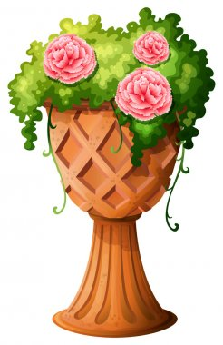 A big pot with a flowering plant
