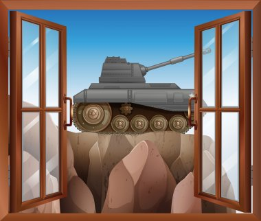 An open window with a view of the armoured tank