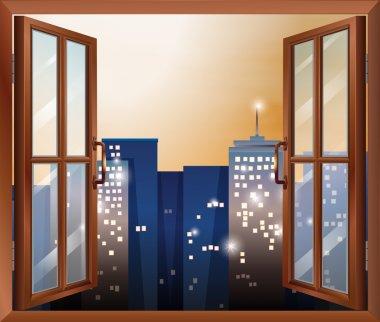 An open window across the city buildings