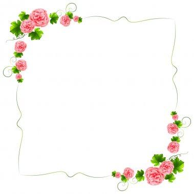"""Картина, постер, плакат, фотообои """"граница с гвоздики розовые цветки"""", артикул 43947453"""