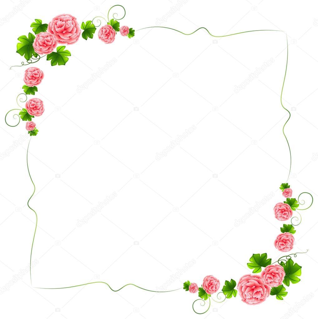 Uma borda com flores cor de rosa cravos — Vetor de Stock