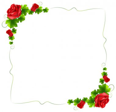 """Картина, постер, плакат, фотообои """"Цветочные границу с красными розами"""", артикул 45429925"""