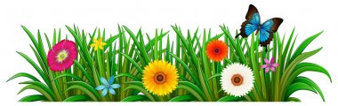 "Картина, постер, плакат, фотообои ""Бабочка в саду с цветущими цветами"", артикул 45429951"