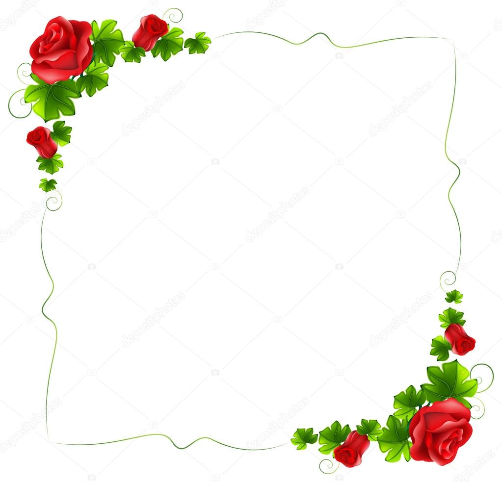 A floral border with red roses