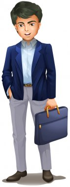 A businessman holding a suitcase