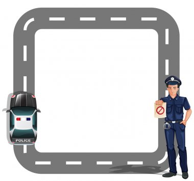A border design with a policeman and a patrol car