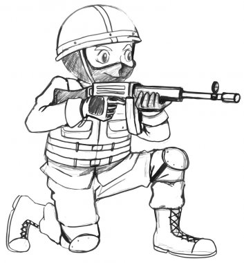 Illustration of a sketch of a soldier with a gun on a white background stock vector