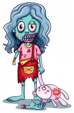 A young female zombie with a doll