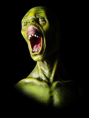 Screaming green zombie.
