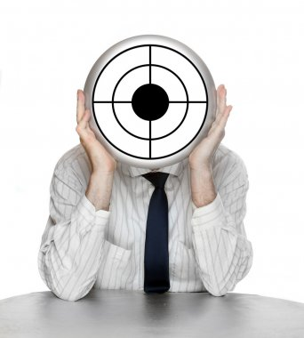 Unsuccessful manager with shooting target