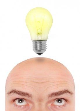 Male head with idea bulb.