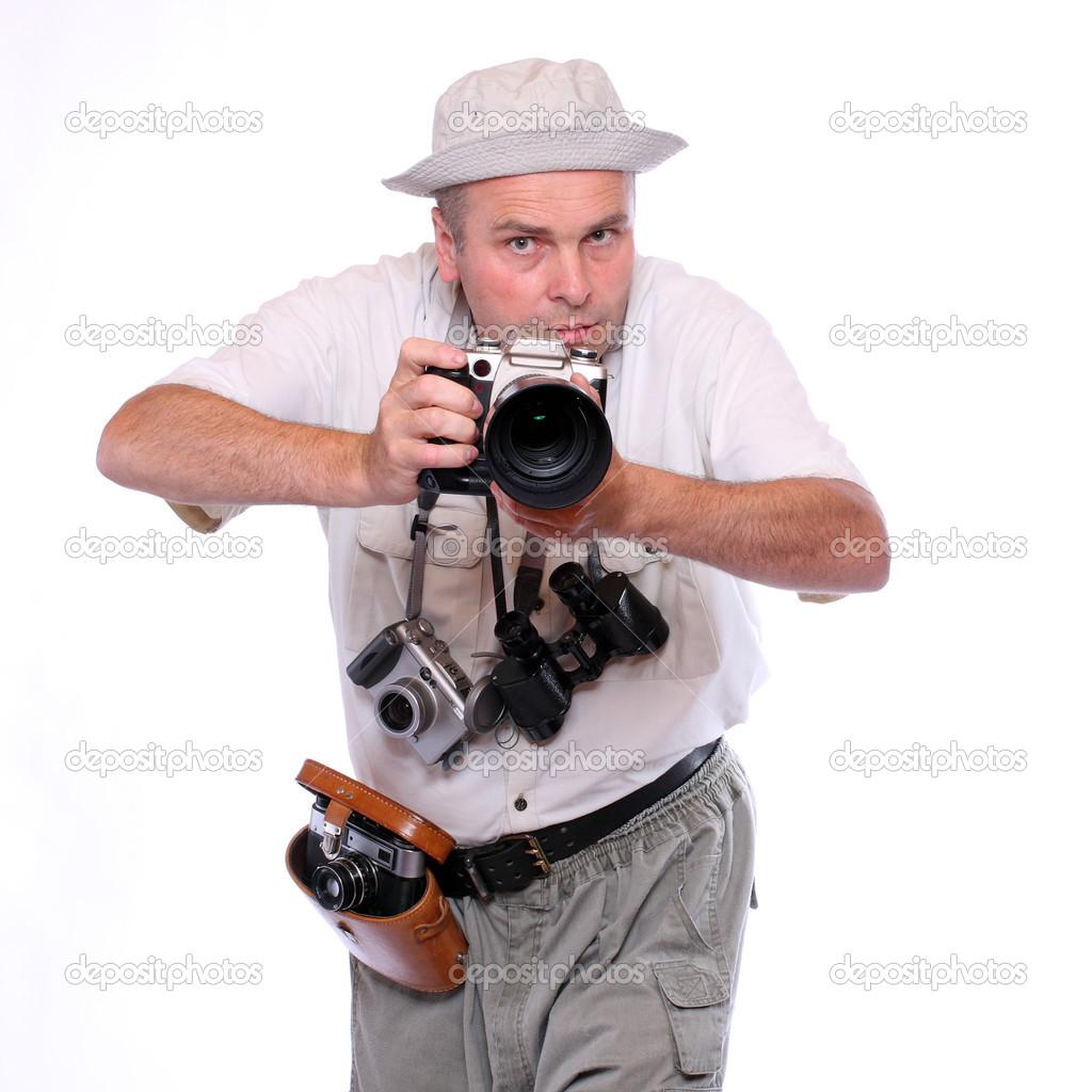Fotografo con telecamere vestito con tuta di safari. Studio colpo isolato  su bianco– immagine stock abda8e218ed0
