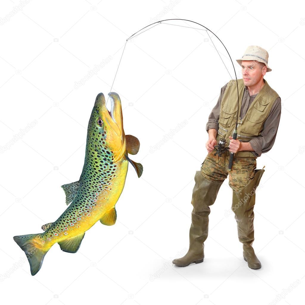 O pescador com grande peixe truta salmo trutta for Big fish script
