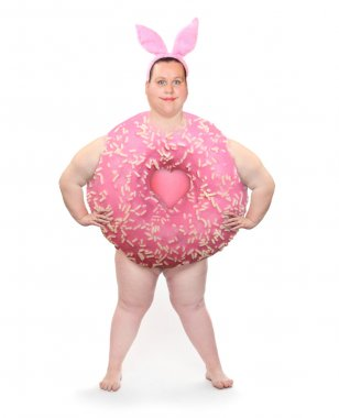 Overweight woman or Big pink donut with rabbit ears.