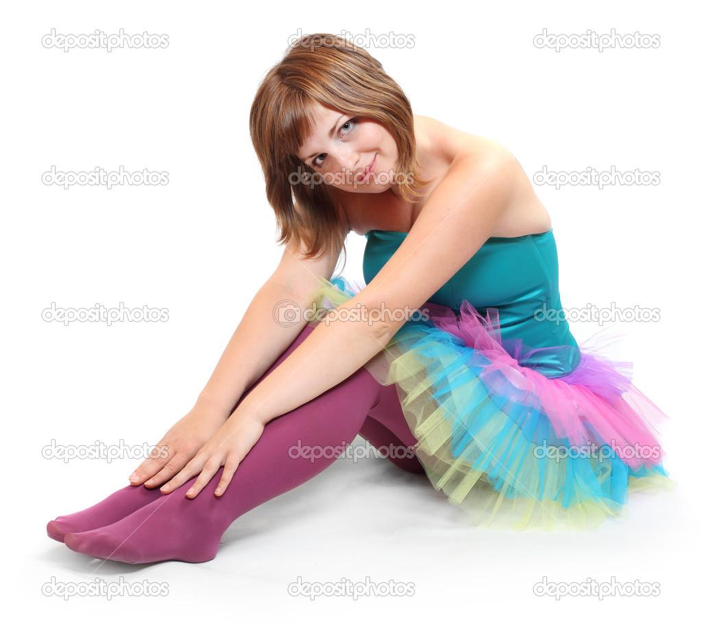 0dd80cb414b2 Pretty dancer dressed in retro costume sitting — Stock Photo ...