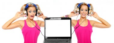 Girls listening music online