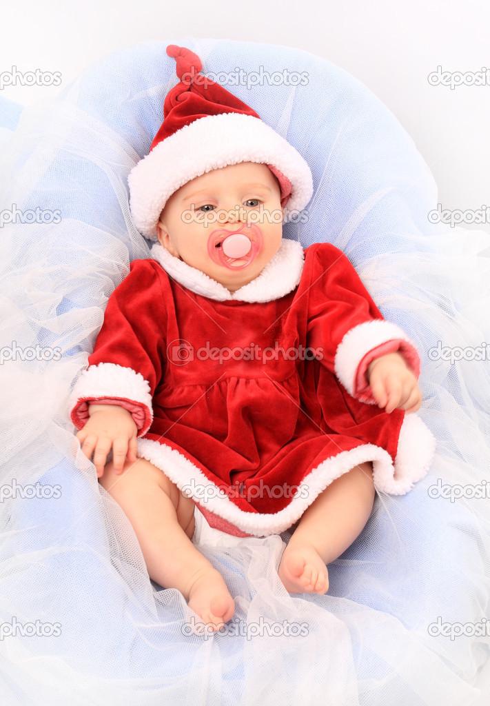 3a7e18ad74 Aranyos baba öltözött Mikulás. nagy, a naptár és karácsonyi üdvözlet– stock  kép