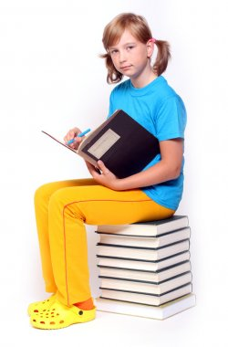 Pretty girl with opened book.