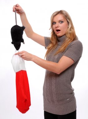 Woman with christmas sock and mouse