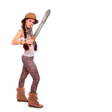Woman  holding big cutlass.