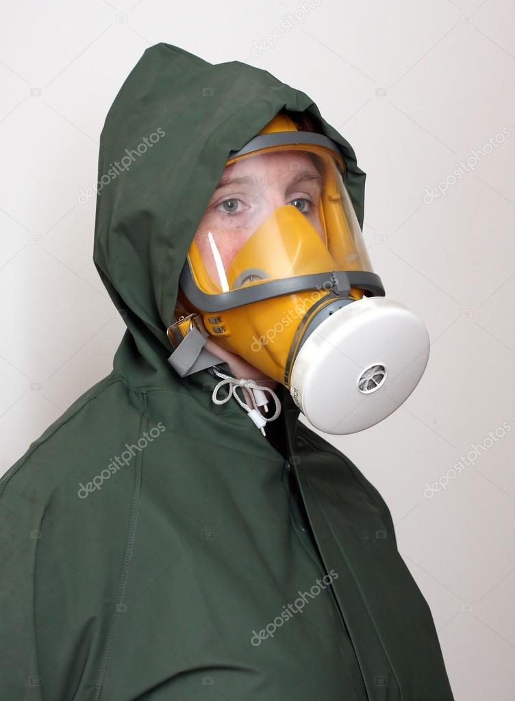 woman wearing gas mask and protective suit stock photo vladvitek 33182469. Black Bedroom Furniture Sets. Home Design Ideas