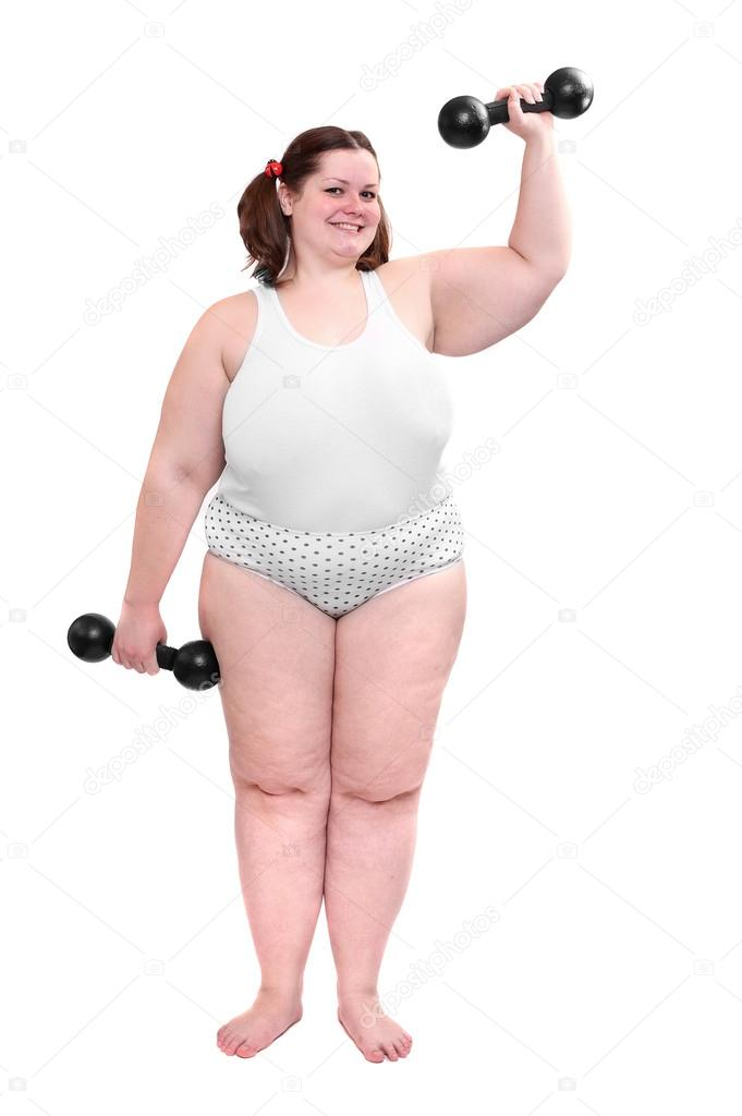 Happy overweight woman exercising on white background. ⬇ Stock Photo, Image  by © vladvitek #33186139