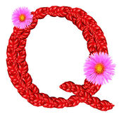 Letter Q from red leaves and aster flowers