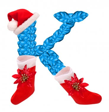 Christmas letter K with Santa Claus cap and stocking.