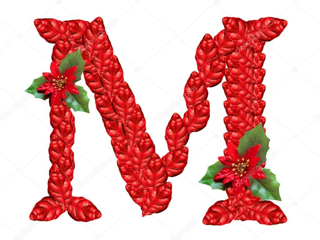Lettre de fleurs rouges de no l alphabet de no l gentil - Alphabet noel ...