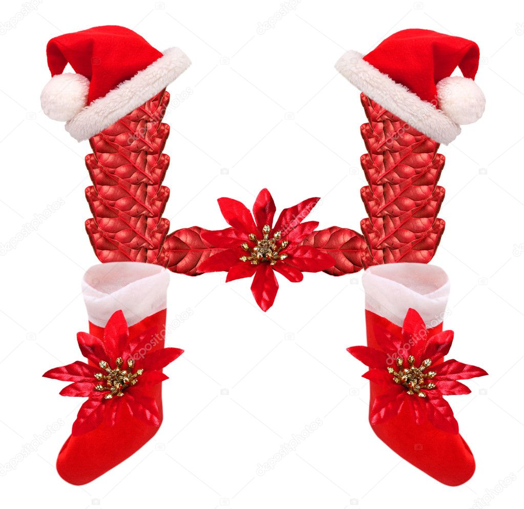 christmas letter h with santa claus cap and stocking u2014 stock