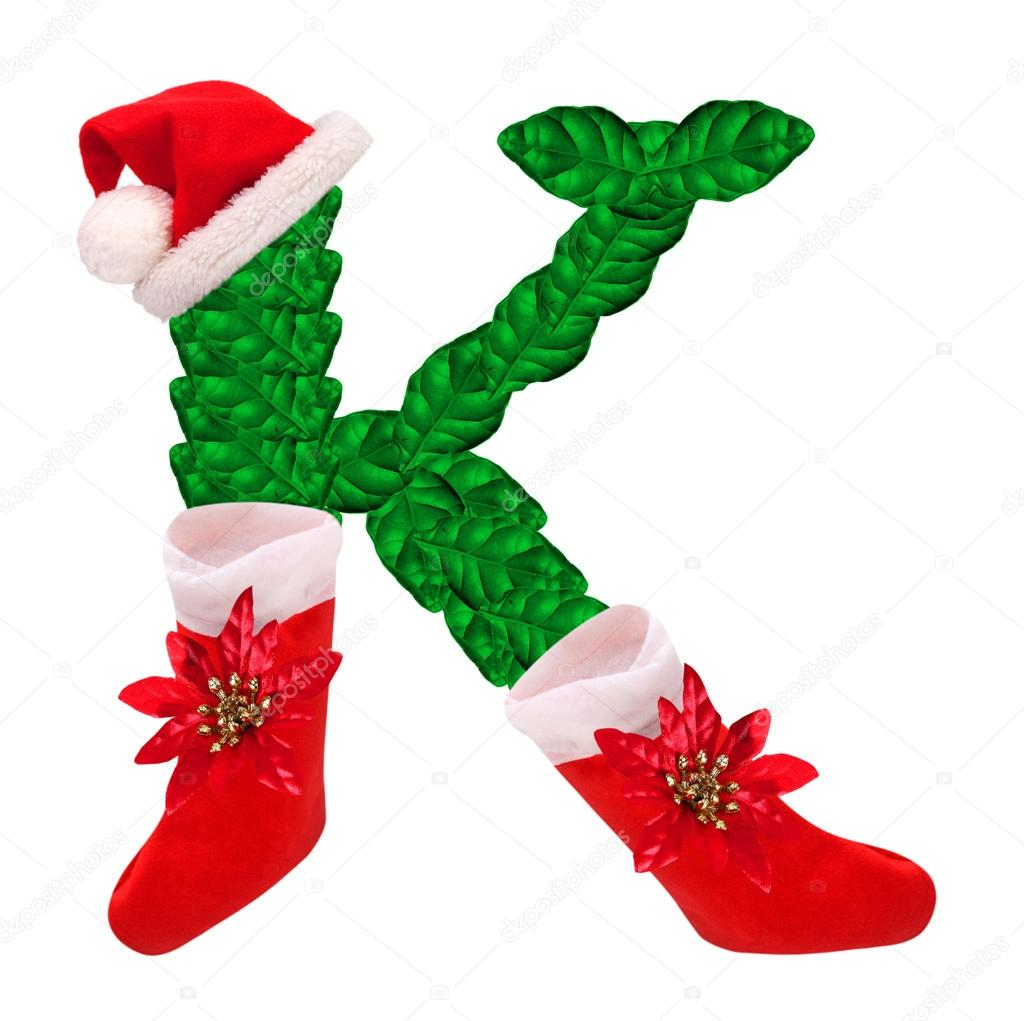 Christmas letter K with Santa Claus cap
